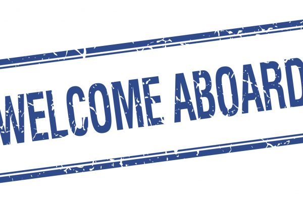 blue and white welcome aboard icon