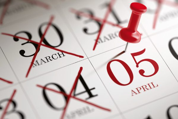 5 april pinned on calendar